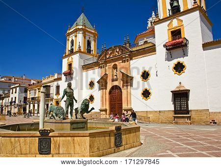 Daniel and the Lions in front of town-center cathedral in Ronda, Spain,