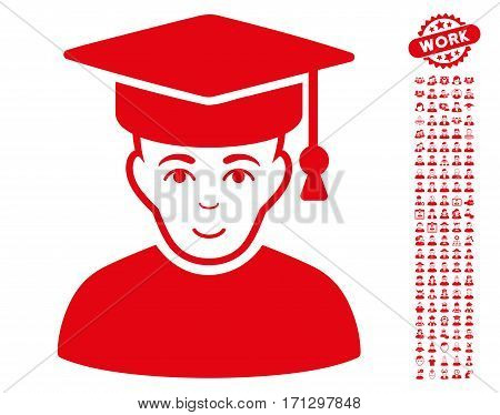 Professor icon with bonus people pictures. Vector illustration style is flat iconic red symbols on white background.