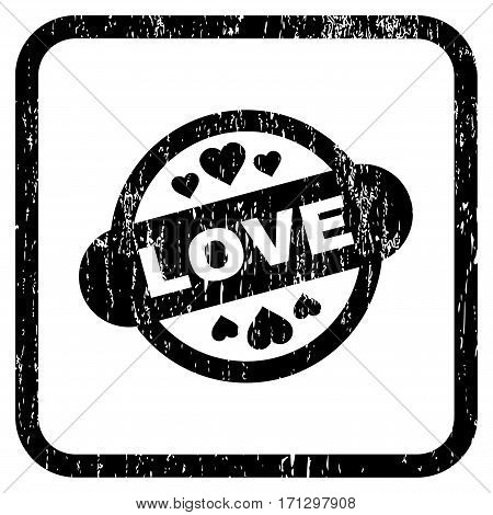 Love Stamp Seal rubber watermark. Vector icon symbol inside rounded rectangular frame with grunge design and scratched texture. Stamp seal illustration.