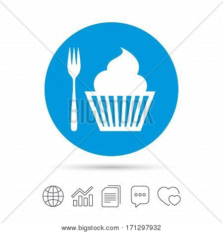 Eat sign icon. Dessert trident fork with muffin. Cutlery symbol. Copy files, chat speech bubble and chart web icons. Vector