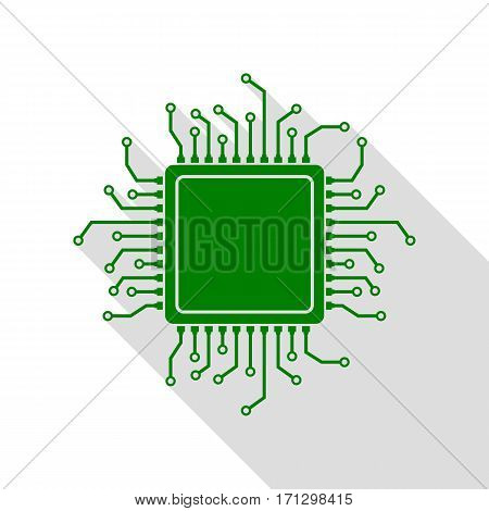 CPU Microprocessor illustration. Green icon with flat style shadow path.