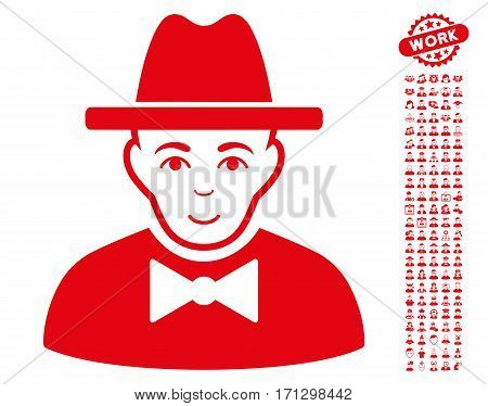 Spy icon with bonus avatar icon set. Vector illustration style is flat iconic red symbols on white background.