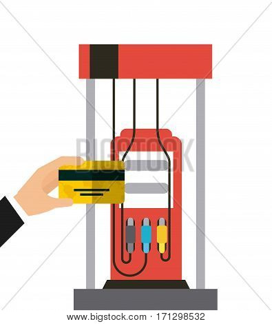 hand holding a credit card and gasoline pump over white background. oil industry concept. colorful design. vector illustration