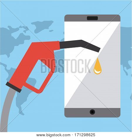 Gasoline pump nozzle and smartphone over world map and blue background. colorful design. vector illustration