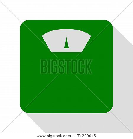 Bathroom scale sign. Green icon with flat style shadow path.
