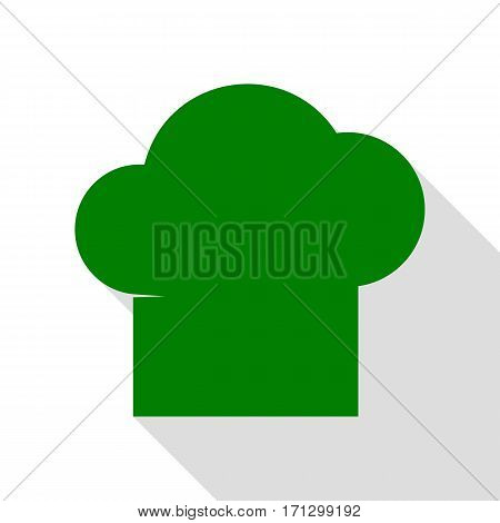 Chef cap sign. Green icon with flat style shadow path.