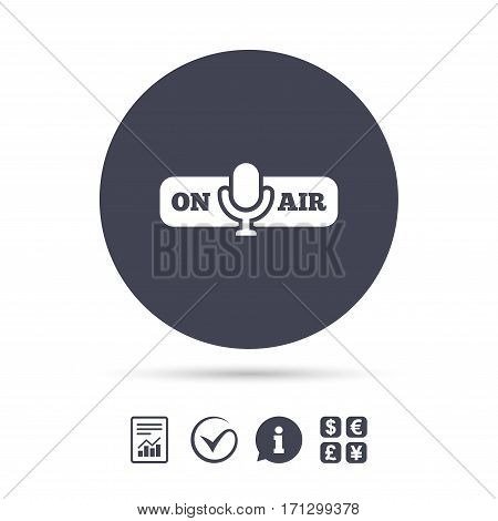 On air sign icon. Live stream symbol. Microphone symbol. Report document, information and check tick icons. Currency exchange. Vector