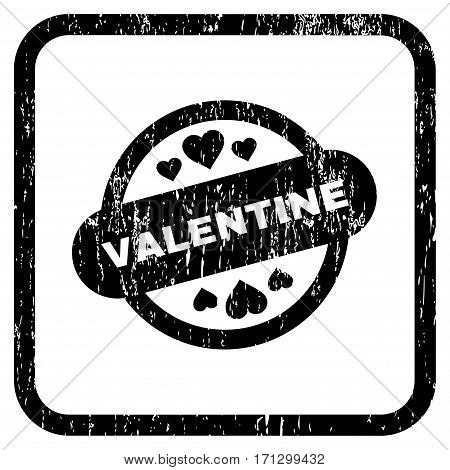 Valentine Stamp Seal rubber watermark. Vector icon symbol inside rounded rectangle with grunge design and dirty texture. Stamp seal illustration. Unclean black ink emblem on a white background.