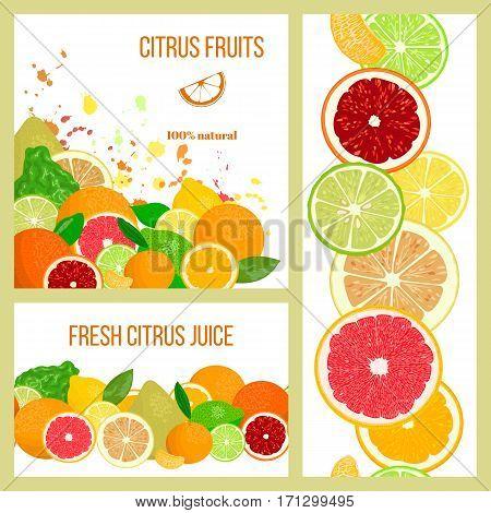 Citrus Juicy fruits. Label cards set. Realistic Bergamot, lemon, grapefruit, lime, mandarin, pomelo, orange. splashes and slices. For fresh bar cocktails cafe juice package advertising design