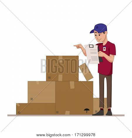 Courier checks parcels list. Boxes for sending mail. Warehouse worker or a postman. Flat character isolated on white background. Vector, illustration EPS10