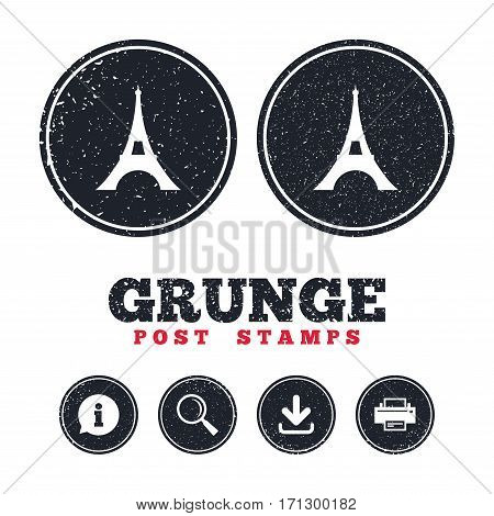 Grunge post stamps. Eiffel tower icon. Paris symbol. Information, download and printer signs. Aged texture web buttons. Vector