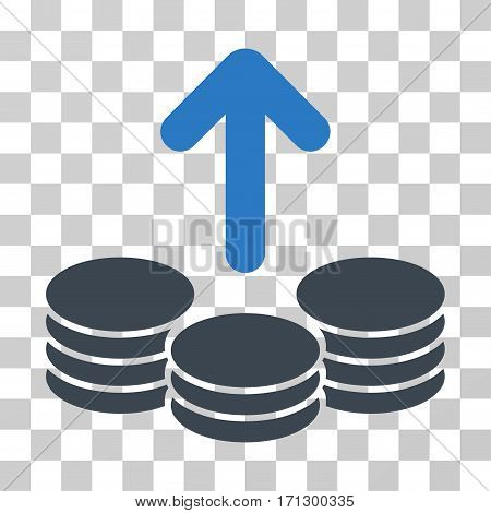 Payout Coins icon. Vector illustration style is flat iconic bicolor symbol smooth blue colors transparent background. Designed for web and software interfaces.