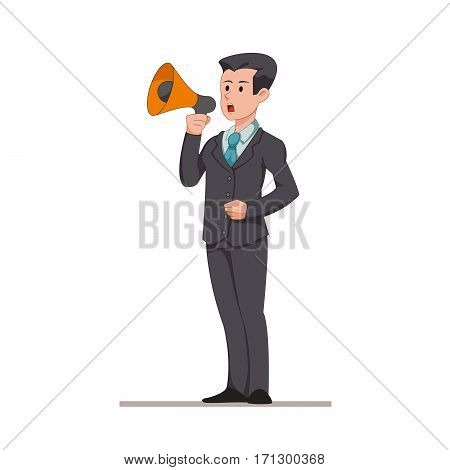Businessman or manager says to the speaker. Man makes an important announcement. Flat character isolated on white background. Vector, illustration EPS10