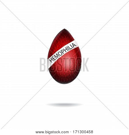 Hemophilia. World Hemophilia Day. Red drop of blood. Vector illustration on isolated background.