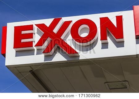Indianapolis - Circa February 2017: Exxon Retail Gas Location. ExxonMobil is the World's Largest Oil and Gas Company V