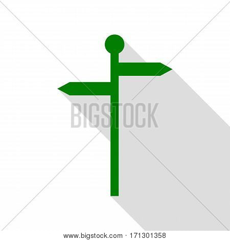Direction road sign. Green icon with flat style shadow path.