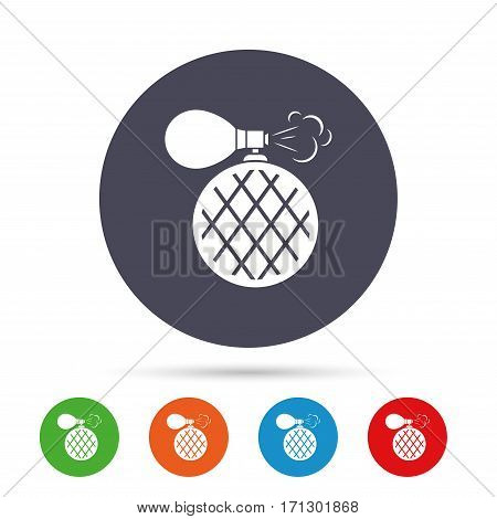 Perfume bottle sign icon. Glamour fragrance symbol. Round colourful buttons with flat icons. Vector