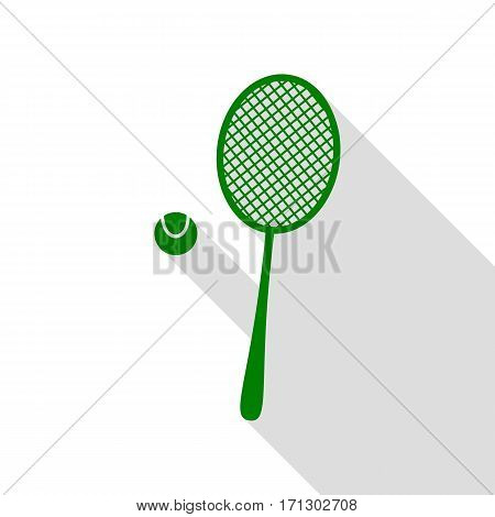 Tennis racquet sign. Green icon with flat style shadow path.