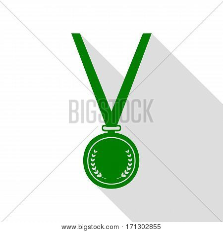 Medal simple sign. Green icon with flat style shadow path.
