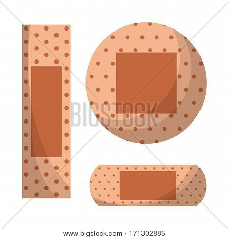 band aids over white background. colorful design. first aid concept. vector illustration