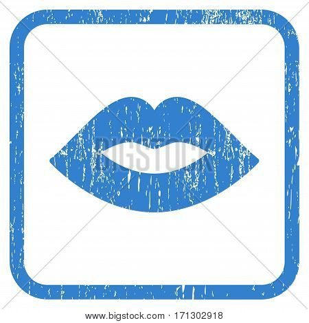 Lips rubber watermark. Vector icon symbol inside rounded rectangle with grunge design and scratched texture. Stamp seal illustration. Unclean cobalt ink sticker on a white background.