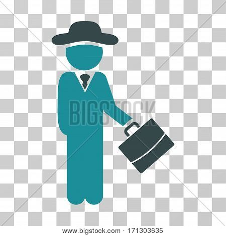 Gentleman Manager icon. Vector illustration style is flat iconic bicolor symbol soft blue colors transparent background. Designed for web and software interfaces.