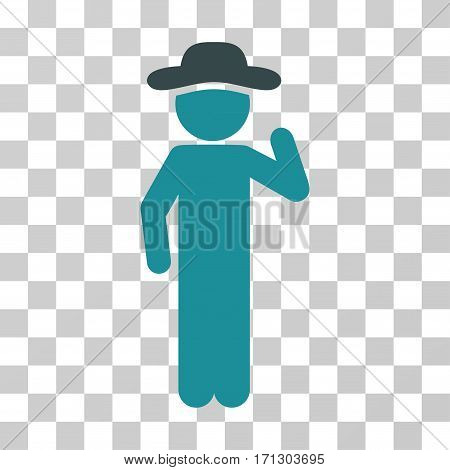 Gentleman Opinion icon. Vector illustration style is flat iconic bicolor symbol soft blue colors transparent background. Designed for web and software interfaces.