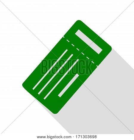 Ticket simple sign. Green icon with flat style shadow path.