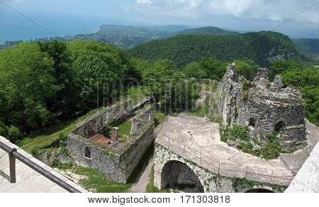 Aerial view of the ruins of the Fortress of of the ancient capital Anakopia. Iverian mountain, Abkhazia.