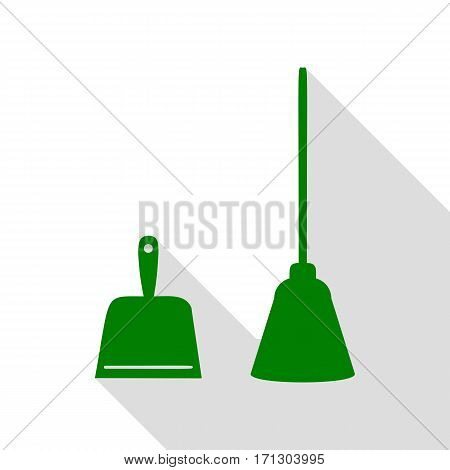 Dustpan vector sign. Scoop for cleaning garbage housework dustpan equipment. Green icon with flat style shadow path.