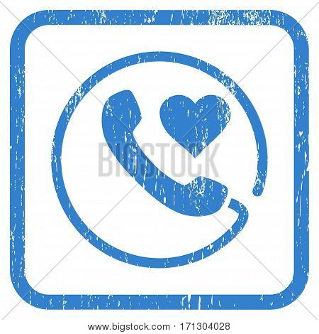 Love Phone rubber watermark. Vector icon symbol inside rounded rectangle with grunge design and dirty texture. Stamp seal illustration. Unclean cobalt ink sign on a white background.