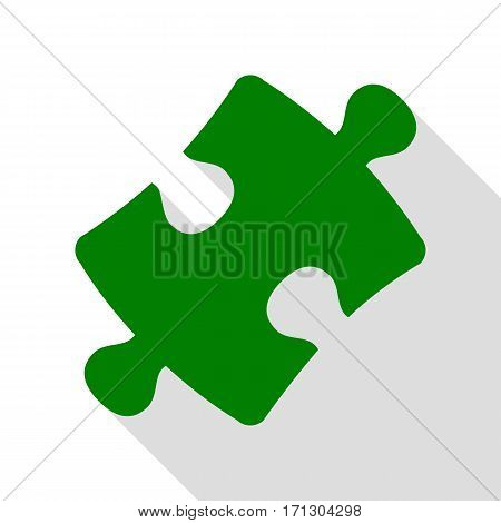 Puzzle piece sign. Green icon with flat style shadow path.