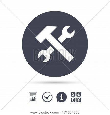 Repair tool sign icon. Service symbol. Hammer with wrench. Report document, information and check tick icons. Currency exchange. Vector