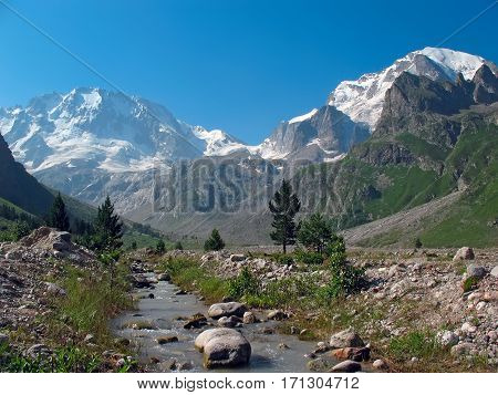 Mount Ullu-Tau from the gorge Adyr-su. Caucasus region, Russia.