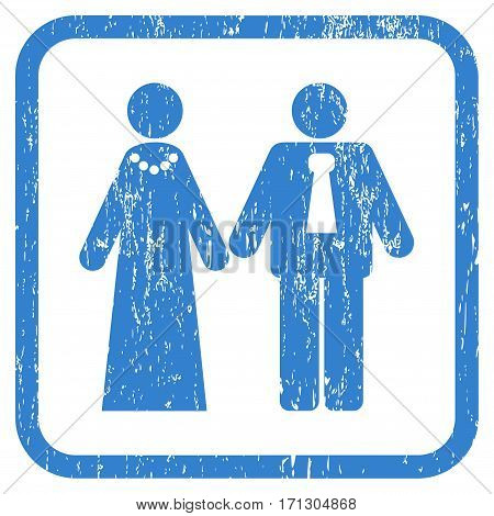 Newlyweds rubber watermark. Vector pictogram symbol inside rounded rectangle with grunge design and unclean texture. Stamp seal illustration. Unclean cobalt ink emblem on a white background.