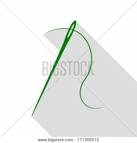 Needle with thread. Sewing needle, needle for sewing. Green icon with flat style shadow path.