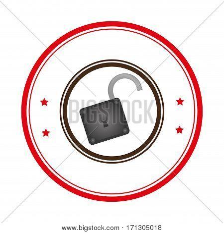 circular border with open padlock vector illustration