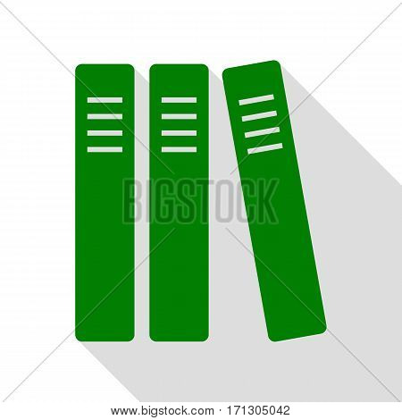 Row of binders, office folders icon. Green icon with flat style shadow path.