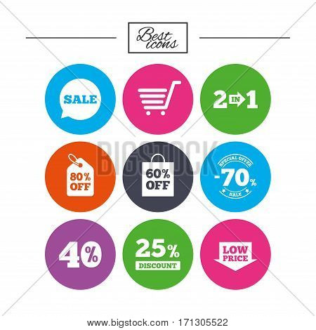 Sale discounts icon. Shopping cart, coupon and low price signs. 25, 40 and 60 percent off. Special offer symbols. Classic simple flat icons. Vector