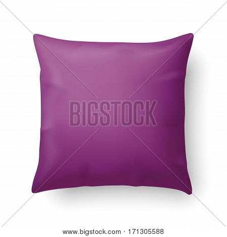 Close Up of a Magenta Pillow Isolated on White Background