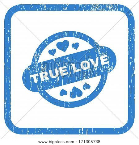True Love Stamp Seal rubber watermark. Vector pictogram symbol inside rounded rectangle with grunge design and scratched texture. Stamp seal illustration.