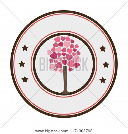 circular border tree with leafy branches in heart shape form vector illustration