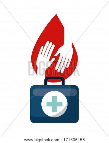fist aid briefcase and blood drop with hands over white background. donation blood concept. colorful design. vector illustration