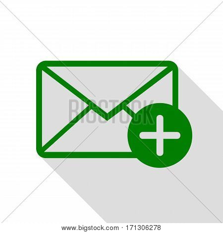 Mail sign illustration with add mark. Green icon with flat style shadow path.