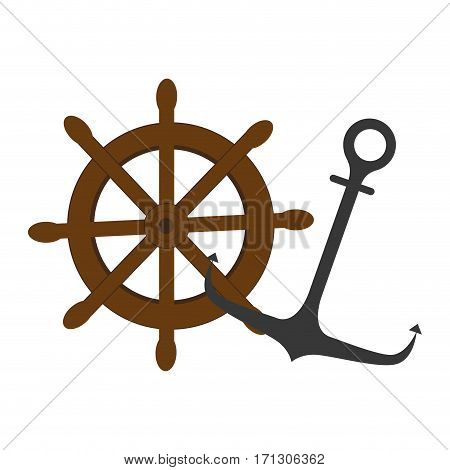 colorful silhouette boat helm and anchor vector illustration
