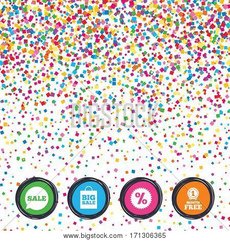 Web buttons on background of confetti. Sale speech bubble icon. Discount star symbol. Big sale shopping bag sign. First month free medal. Bright stylish design. Vector