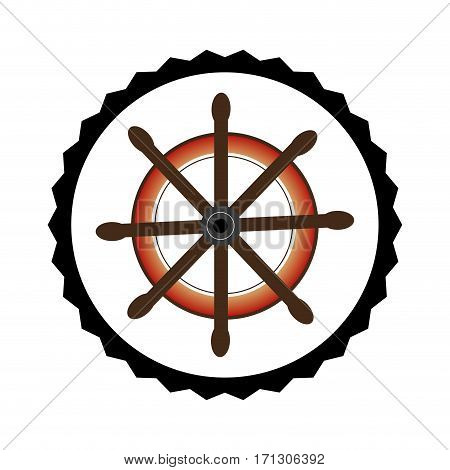 stamp border with colorful boat helm vector illustration