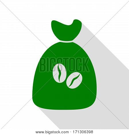 Coffee bag Icon. Coffee bag Vector. Coffee bag Icon Button. Green icon with flat style shadow path.