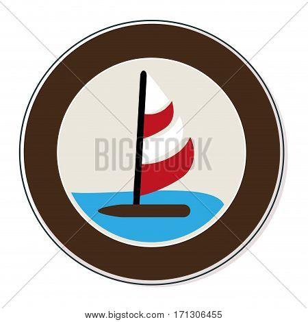 circular border with ocean and yacht vector illustration