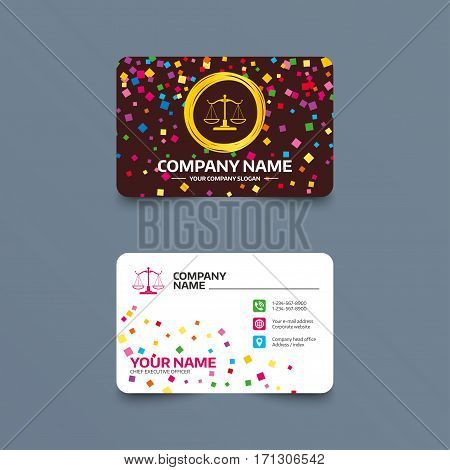 Business card template with confetti pieces. Scales of Justice sign icon. Court of law symbol. Phone, web and location icons. Visiting card  Vector